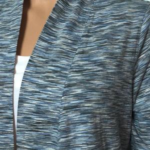 J. Jill Sweaters - Pure J. Jill Blue Gray Space Dye Open Cardigan